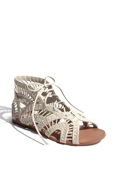 Steve Madden 'Paiigge' Gladiator Sandal Item Threaded straps and latticework details fashion an airy gladiator sandal that laces up the front. Synthetic upper, lining and sole. By Steve Madden; Gladiator Sandals, Shoes Sandals, Gladiators, Strappy Flats, White Sandals, Flat Shoes, Cute Shoes, Me Too Shoes, Shoe Boots