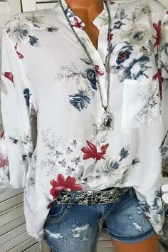 V Neck Floral Print Button Down Pocket Blouses