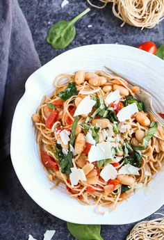 Roasted Tomatoes, White Beans, and Spinach with Whole Wheat Pasta - The Pasta Shoppe Wheat Pasta Recipes Healthy, Healthy Pasta Dishes, Vegetarian Pasta Recipes, Healthy Pasta Recipes, Healthy Pastas, Rice Recipes, Frugal Recipes, Noodle Recipes, Seafood Recipes