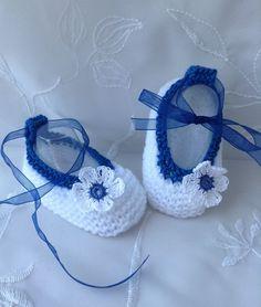 Chaussons ballerine pour bébé taille 3 mois, blanc et bleu : Moda bebè di tricot-bonnie