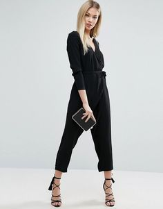 ASOS Jumpsuit with Wrap and Self Tie Detail with Long Sleeve