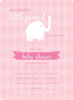 Pink and White Little Elephant Girl Baby Shower Invitations, these are the cutest invitations. <3