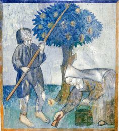 https://flic.kr/p/e86yz2 | October - Harvesting the eatable chestnuts | October - Harvesting the eatable chestnuts Frescoes with the labors of the months Santa Maria del Castello Mesocco, Ticino, Suisse Original photo by courtesy of Renzo Dionigi, color-modified by p.a.