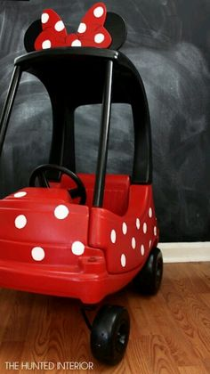 Cute minnie mouse car re-do-@Felicia Mathis for Aubrey and Cassidy. (to get the most out of your $5 car)