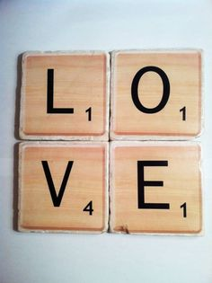 """""""Scrabble"""" letters spell LOVE drink coasters by 5 Creations Handmade Decor"""