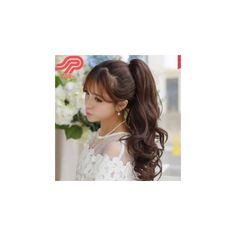 Ponytail - Wavy ($10) ❤ liked on Polyvore featuring accessories, hair accessories, hair, brown and wig