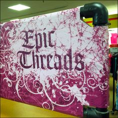Fabric Banner for Epic Threads – Fixtures Close Up Purple Fabric, Display Ideas, Banners, Close Up, Entrance, Retail, Branding, Store, Color