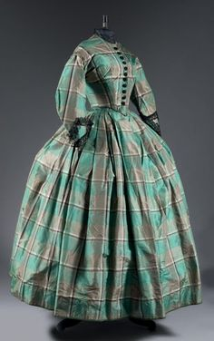Silk plaid day dress, ca. 1855 | In the Swan's Shadow
