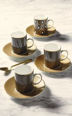 Arris Espresso Cups & Saucers (set of - A chic and sophisticated coffee collection designed for a sociable evening or afternoon with friends. Discover Arris by Wedgwood. Espresso Cups, Coffee Cups, Casual Dinnerware, Cup Art, Stoke On Trent, Dinner Sets, Cup And Saucer Set, Wedgwood, Plate Sets
