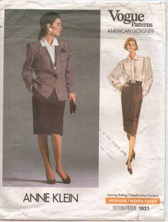 80s Vogue American Designer Pattern 1931 Anne Klein by CloesCloset, $14.00