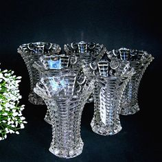 Vintage Trumpet Vases Anchor Hocking 1940-50 Pattern 5010 Clear Glass Great Wedding Table Vases (WB1)