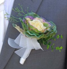 Grooms Silk Ornamental Cabbage Wedding Day Buttonhole - Sarah's Flowers