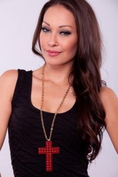 RED DOUBLE ROW SPIKE STUD CROSS LARGE CHAIN NECKLACE