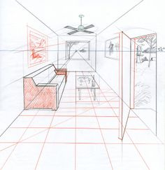 INTERIOR SKETCHES One Point Perspective. This is a one point perspective. That refers to the basic set up of the view. The rules for the s. Perspective 1 Point, Perspective Room, Perspective Drawing Lessons, Perspective Sketch, Interior Architecture Drawing, Drawing Interior, Interior Design Sketches, Architecture Design, Classical Architecture