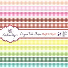 Digital Gingham Ribbons Clipart 24 Colors 12x.75 by ShaleceElynne