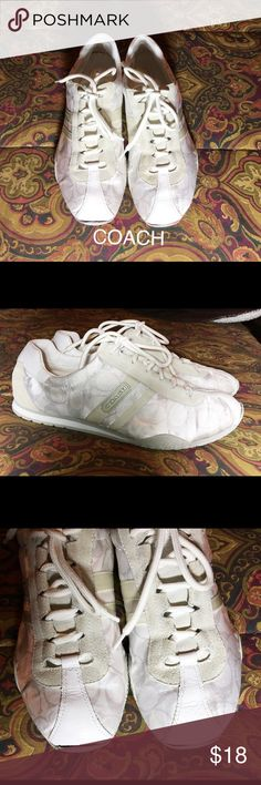 Coach Sneakers These shoes are loved but still in GUC. They have a lot of life left in them. They are very clean inside and out. I will say that these are the most comfortable sneakers I have ever owned. So lightweight! The only real flaw is the rubber at top of right shoe is a little away from the cloth material. I pictured this and my price will reflect this. Coach Shoes Sneakers