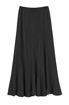 Urban CoCo Womens Vintage Elastic Waist ALine Long Maxi Skirt L Black *** Learn more by visiting the image link.