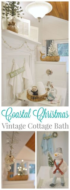 Coatal Christmas 1920's vintage cottage bathroom decorated for the holidays.