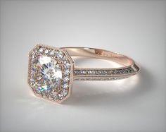 engagement rings, halo, 14k rose gold octagon halo diamond engagement ring item 49371