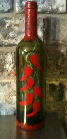 Painted wine bottle with red peppers by JosLagniappe on Etsy, $22.00