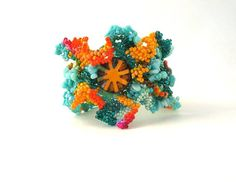 Beaded bracelet, seed bead bracelet, Colorful bracelet, freeform bracelet, turquoise teal cuff, spring jewelry, boho gipsy bracelet