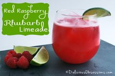 Red Raspberry Rhubarb Limeade Recipe   deliciousobsessions.com