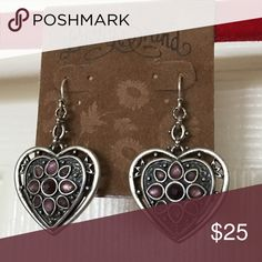 """Lucky Brand Heart Earrings This pair of Lucky Brand Purple Heart earrings are in great condition. New, never worn. Length: 1 1/2"""" from link to tip. Width: 1"""" at widest part. Price is firm. Lucky Brand Jewelry Earrings"""