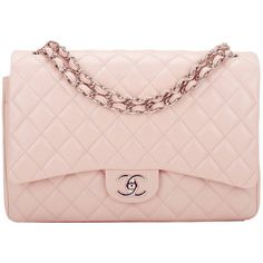 Pre-owned Chanel Light Pink Quilted Caviar Maxi Classic Double Flap... (57 730 SEK) ❤ liked on Polyvore featuring bags, handbags, shoulder bags, purses, accessories, chanel, handbags and purses, structured shoulder bags, genuine leather handbags and quilted handbags