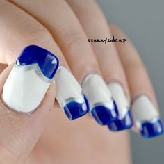 ssunnysideup: Blue frenchy heart nails with polishes by color club, kiko and essence