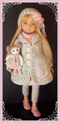 """Outfit for EFFNER LITTLE DARLING DOLL 13 """" + Doll crocheted"""