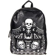 Loungefly Skulls Bones Backpack (Black/White) ($70) ❤ liked on Polyvore featuring bags, backpacks, accessories, black white bag, backpacks bags, loungefly, loungefly bags ve black and white bag
