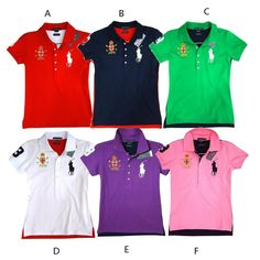 Großhandel Ralph Lauren Big Pony Damen Kurzarm Polo Shirts 7 Far