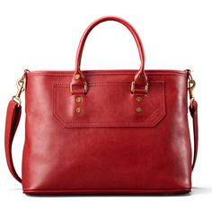 The Elliot Satchel in Cardinal Leather will add vibrance and style to your Winter look.