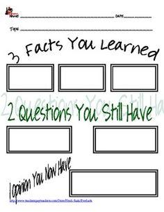 Closure activity:  3-2-1  Im stealing this! exit slip classroom-ideas