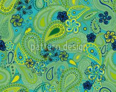 Seamless pattern with green and blue paisleys designed by Sonja Sporrer-Hornfeck, available for download on patterndesigns.com