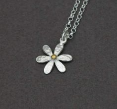 Medium Daisy necklace. Handmade in Sterling Silver and 22ct Gold plating this is a beautiful floral range.
