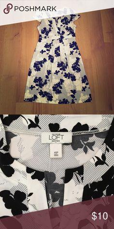 Loft dress, XSP White LOFT dress with black/grey floral accents, cap sleeves. polyester/spandex blend. Size XSP. Good condition. LOFT Dresses