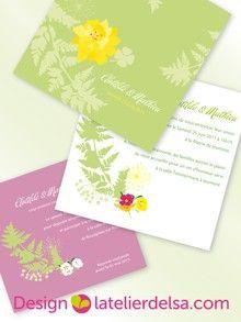 Faire part Nature création sur mesure Faire part mariage www.latelierdelsa.com