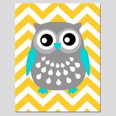 SALE - Modern 8x10 Chevron Owl Silhouette Print - Aqua, Yellow, Gray. $7.00, via Etsy.