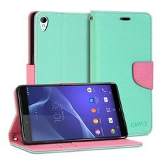 Sony Xperia Z3 Case, GMYLE Wallet Case Classic for Sony Xperia Z3 - Mint Green & Pink Cross Pattern PU Leather Slim Stand Case Cover (Not fit for Xperia Z3 Compact / Z3v)