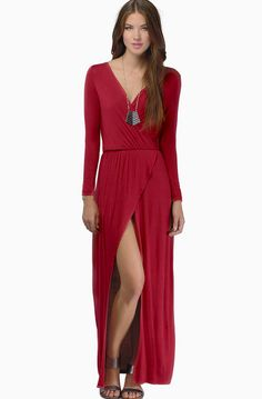 Patsy red long sleeved maxi dress