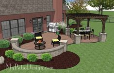 The Concrete Paver Patio Design with Pergola features large circular areas for outdoor dining and sitting around the fire pit. Layouts and material list. #pergolaplansdiy