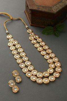 Ishaani Gold Plated Polki Necklace Set/Polki Necklace with Earring/Bollywood Jewelry/Ethenic Jewelry Photo Jewelry, Gold Jewelry, Gold Bangles, Wedding Jewelry, Bollywood Jewelry, Swarovski Crystal Necklace, Beaded Necklaces, Victorian Jewelry, Necklace Sizes