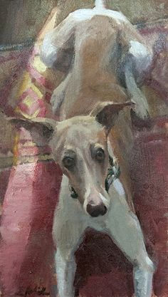 """Honorable Mention award funded by OPA """"Wanna go for a walk?"""" by E Melinda Morrison 16"""" x 9"""" Oil http://opaonlineshowcase.com/winners/143"""