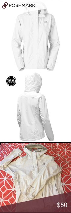 Northface women's Hyvent Dt Resolve 2 white jacket This EUC Northface has been gently loved. The only signs of wear are on the cuffs and minor scratches, as pictured. Details: Weatherproof rain jacket with breathable mesh lining Relaxed Fit Waterproof, breathable, jacket with mesh drop liner 100% windproof fabric Adjustable hood stows in collar Center front stormflap with Velcro® closure Covered, secure-zip hand pockets Elastic-bound cuffs Hem cinch-cord Back panel kicker The North Face…
