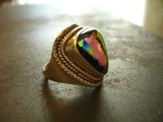 Sterling Silver Ring W/ Unique Triangular OOAK Art Stone-Size 7.5-Gold-Black-Pink-Rainbow Colors-Contemporary Art To Wear-Good Luck Ring-925 by 23littlewishes on Etsy
