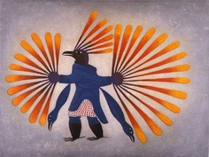 Spirit of the Sun by Kenojuak Ashevak, Inuit artist Modern Indian Art, Art Toronto, Inuit Art, Artwork Display, Feminist Art, Canadian Art, Indigenous Art, Art Graphique, Aboriginal Art