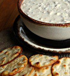Cheddar Bacon Dip (a.k.a Crack Dip)  16 oz sour cream  1 packet Ranch dressing mix  3 oz REAL bacon bits (in the bag not jar)  1 cup shredded cheddar cheese    Mix together and refrigerate 24 hours. Serve with chips and/or veggies    Recipe from plainchicken.com