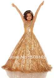 Online Shop 2013 Gold Halter Beaded Dresses for Girls of 7 Years old Pageant Dresses without inbuilt Petticoat|Aliexpress Mobile