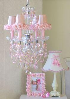 Light Pink Bedding : 4 Light Pink Crystal Chandelier With Pink Porcelain Roses & Shades